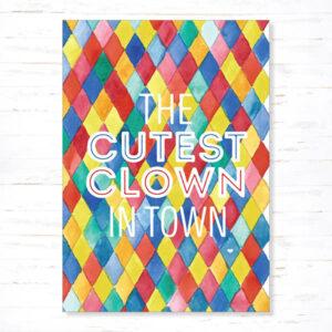 Withloov postkaart Geboorte The cutest clown in town