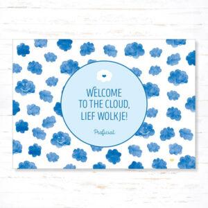 Withloov Postkaart Geboorte Welcome to the cloud lief wolkje
