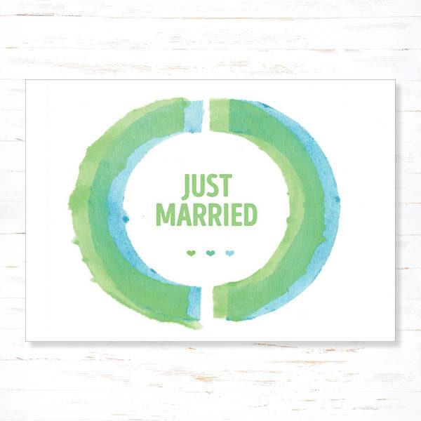 Withloov Postkaart Huwelijk Just married