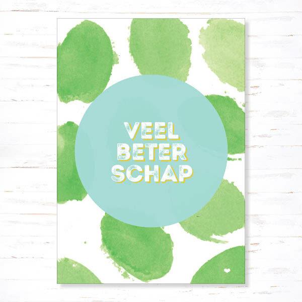 Postkaart Veel beterschap groen