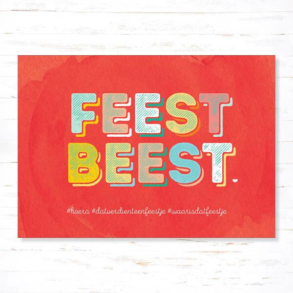 Withloov Postkaart Verjaardag Feestbeest