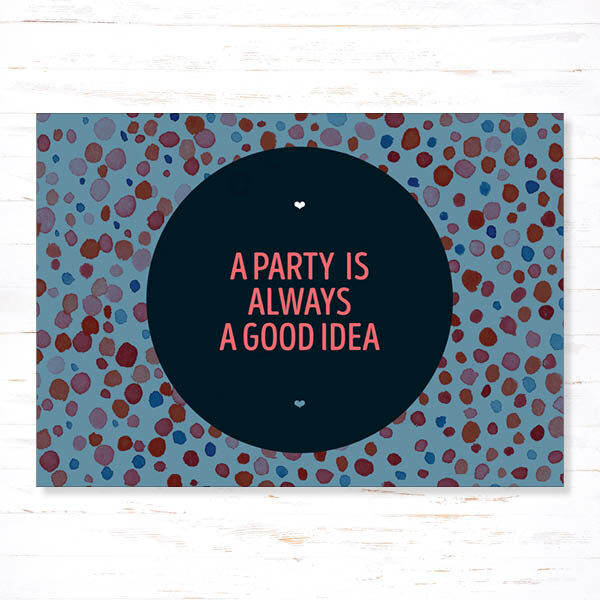 Withloov Postkaart Feest a party is always a good idea