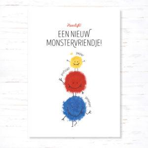 Postkaart Geboorte Nieuw Monstervriendje