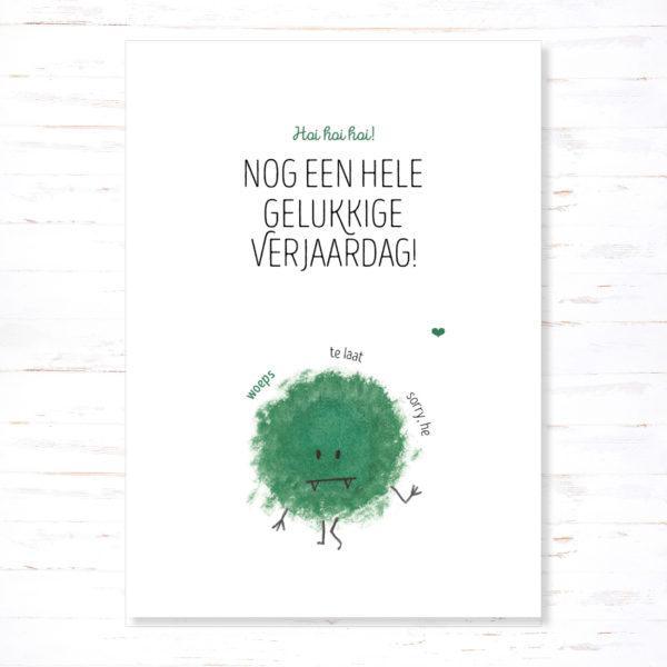 Withloov Postkaart Verjaardag Te laat