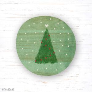 Withloov magneet Kerstboom in de sneeuw